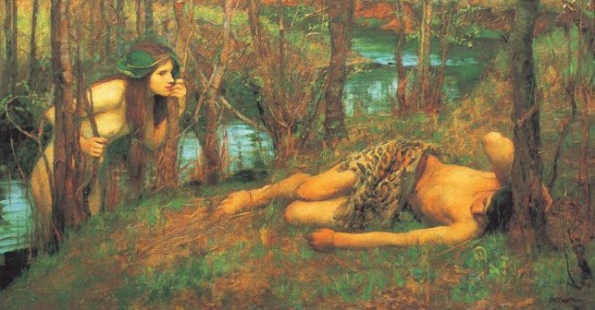 Pre-Raphaelite painting of a nymph looking through the trees at a man lying on the ground