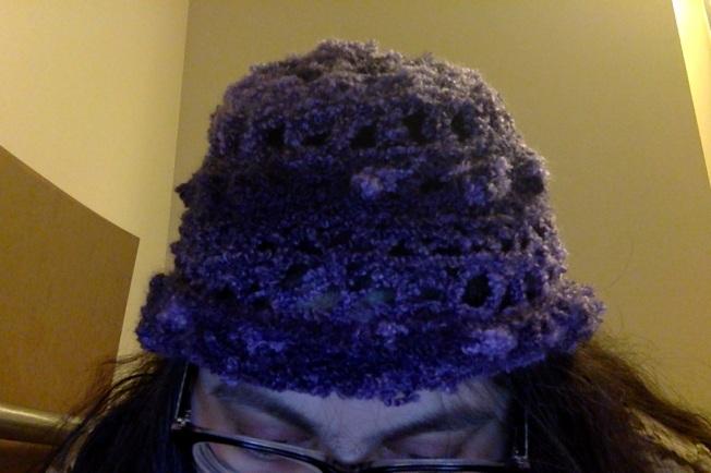 crochetpurplefuzzyhat