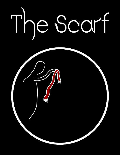 The Scarf.  Stylized drawing of a woman holding a red scarf, inside a white circle, on a black background.