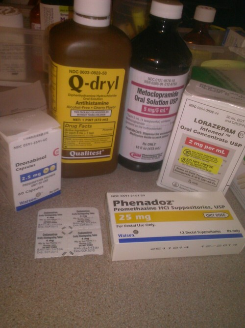 Six different nausea medications of various types