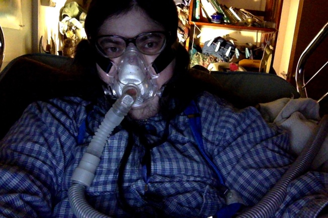 Me wearing my bipap mask at night.