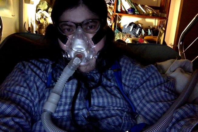 Me wearing my bipap mask at night.