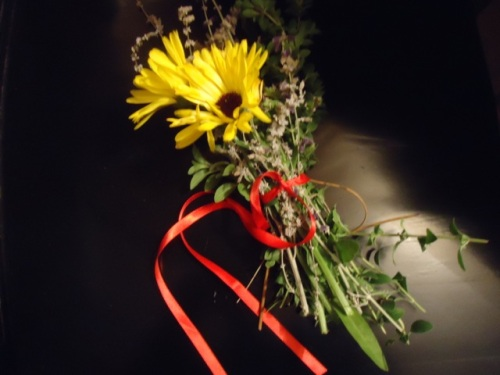 Daisies tied together with red ribbon.